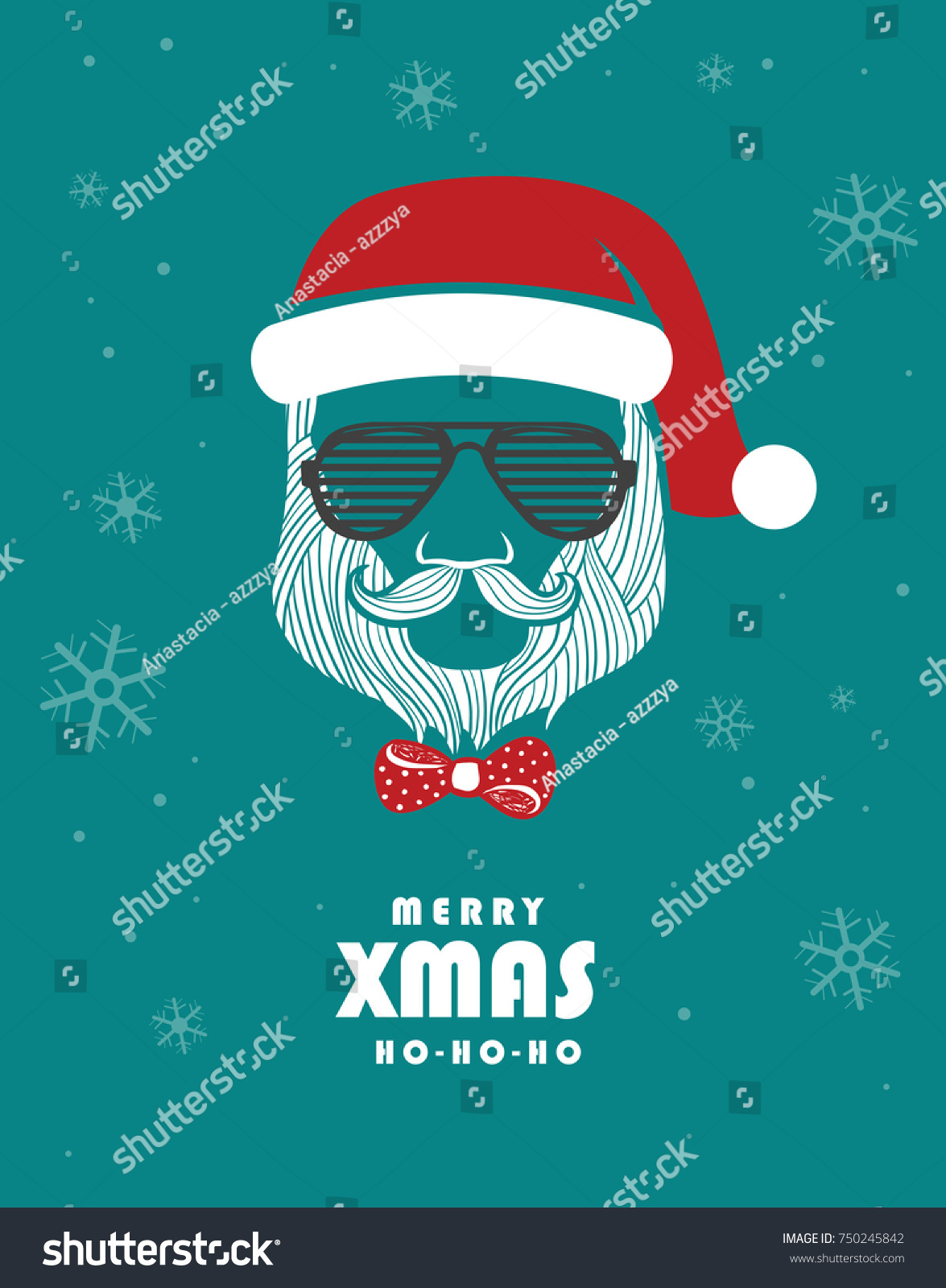 Xmas Greeting Card Hipsters Style Fashionable Stock Vector Royalty