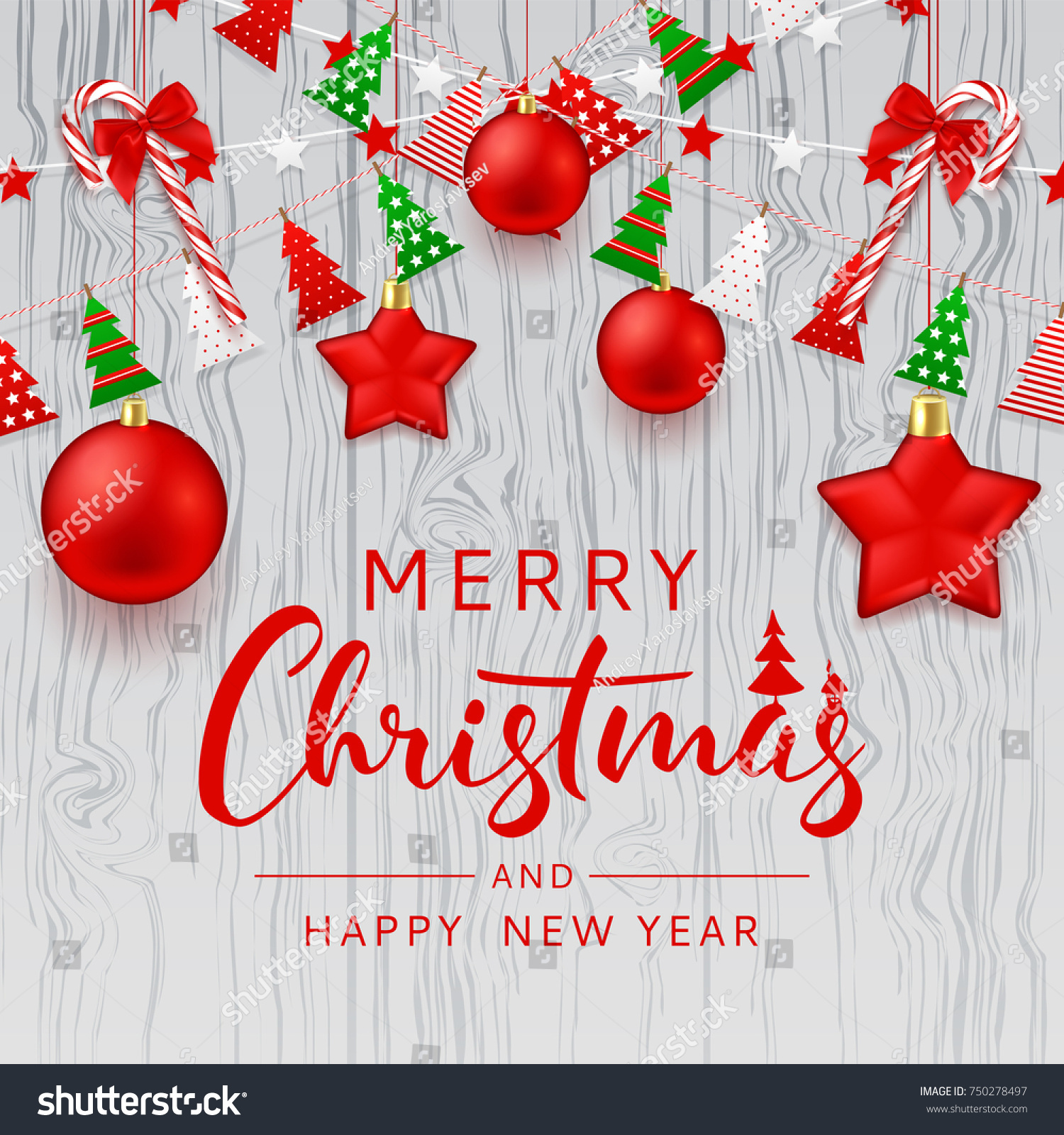 Merry Christmas Beautiful Card Festive Decoration Stock Vector ...