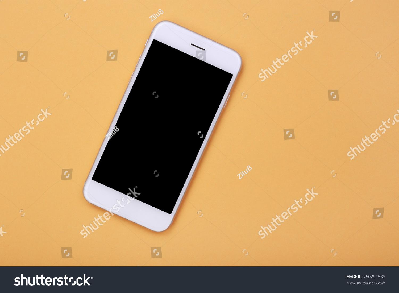 Top View Mockup Smartphone On Orange Stock Photo (Edit Now