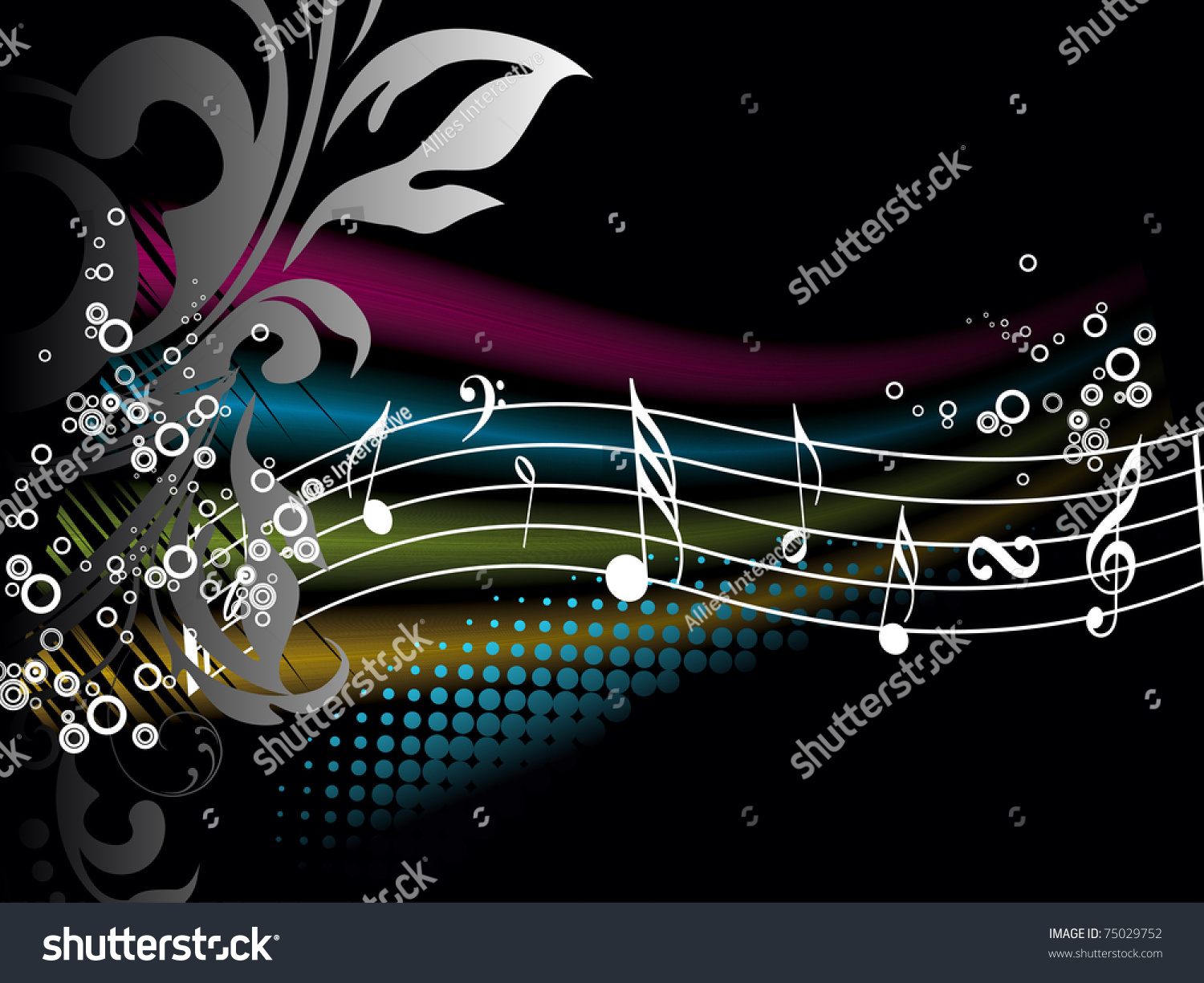 Abstract Music Notes Art: Abstract Floral Colorful Effect Background Musical Stock