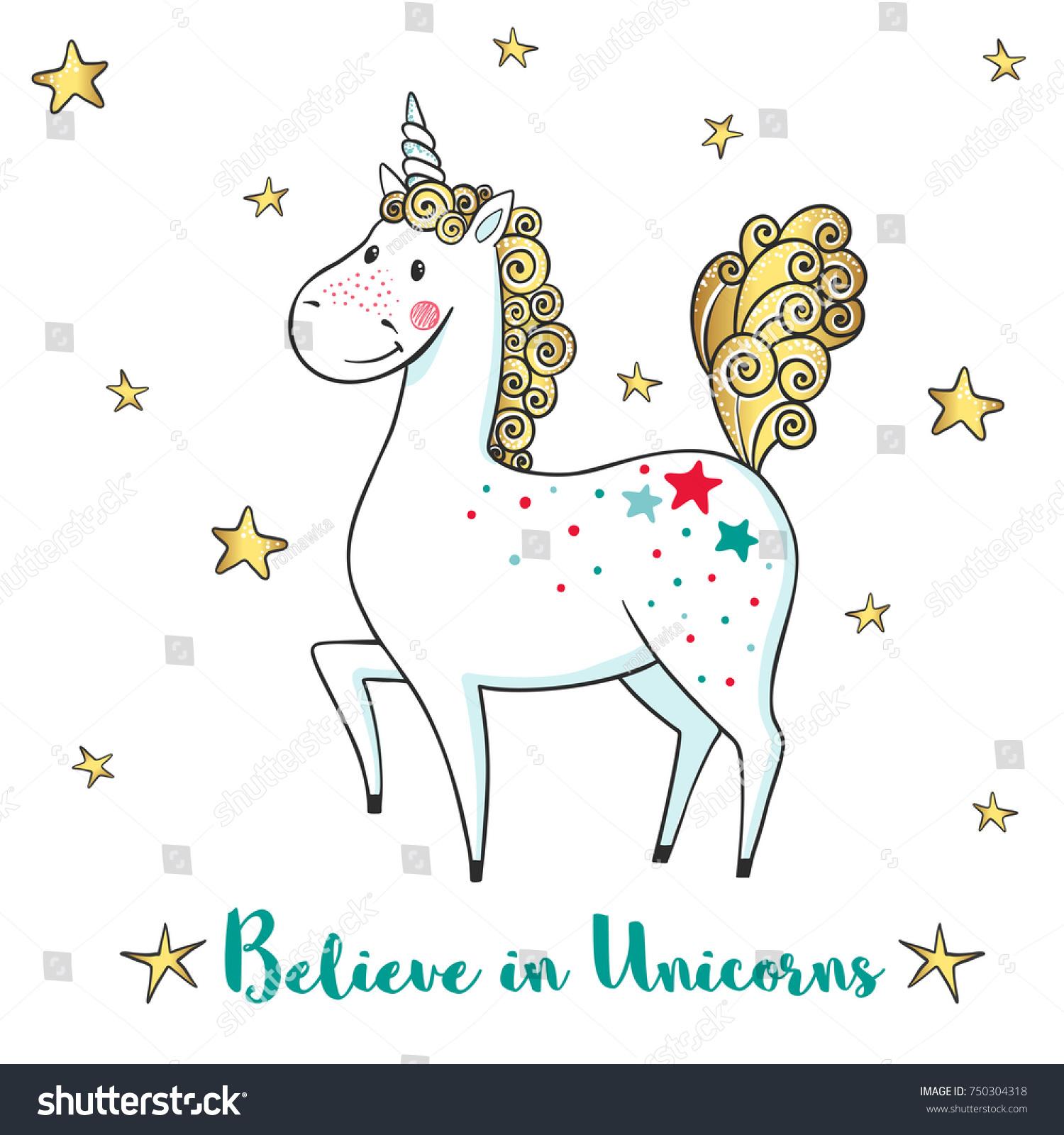 Greeting Card With Cute Unicorn And Stars Cartoon Hand Drawn