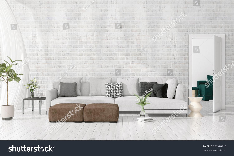 Modern Interior Design Livingroom Vogue Plant Stock Illustration 750316717    Shutterstock
