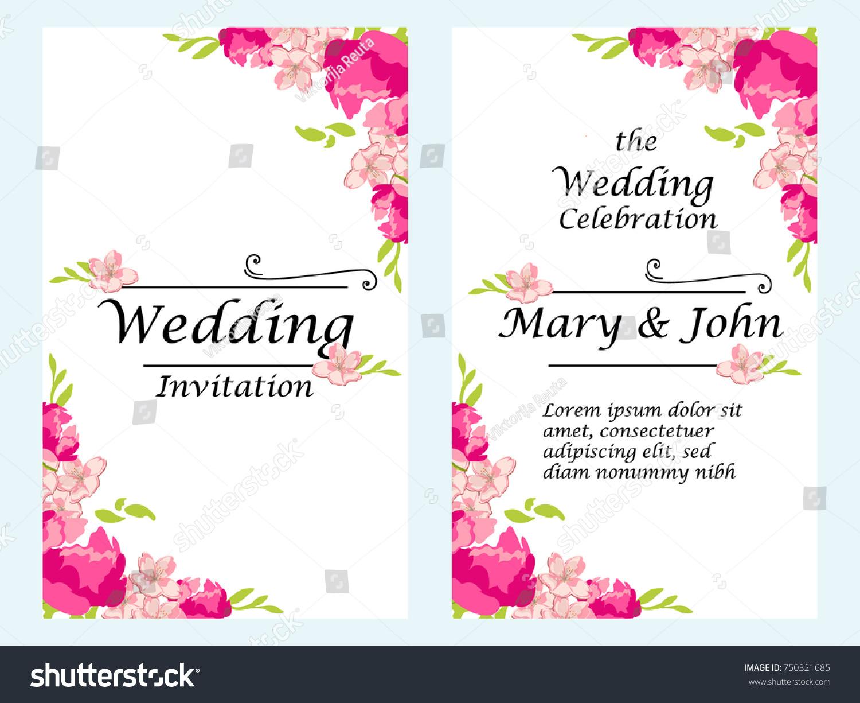 Vector Illustration Wedding Invitation Template Modern Stock Vector ...