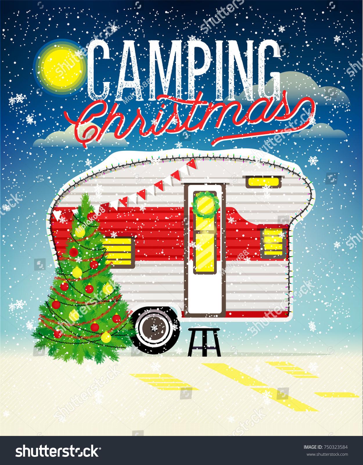Christmas Card Winter Camp Christmas Vintage Stock Vector (Royalty ...