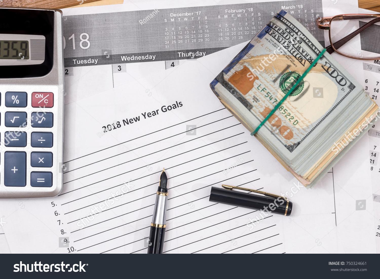 Dollar List 2018 New Year Goals Stock Photo (Edit Now
