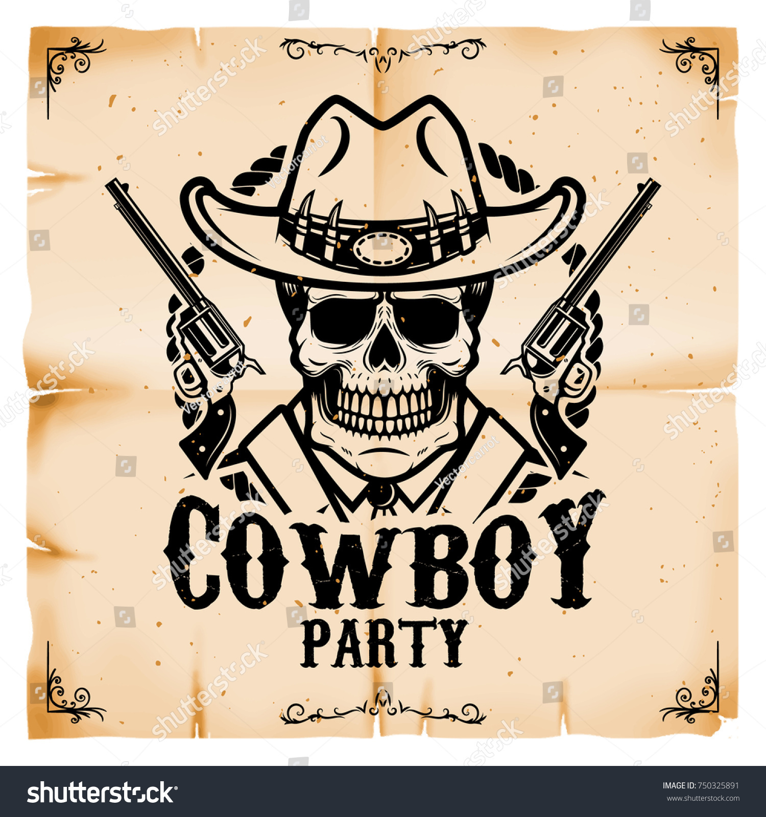 cowboy party poster template old paper stock vector royalty free
