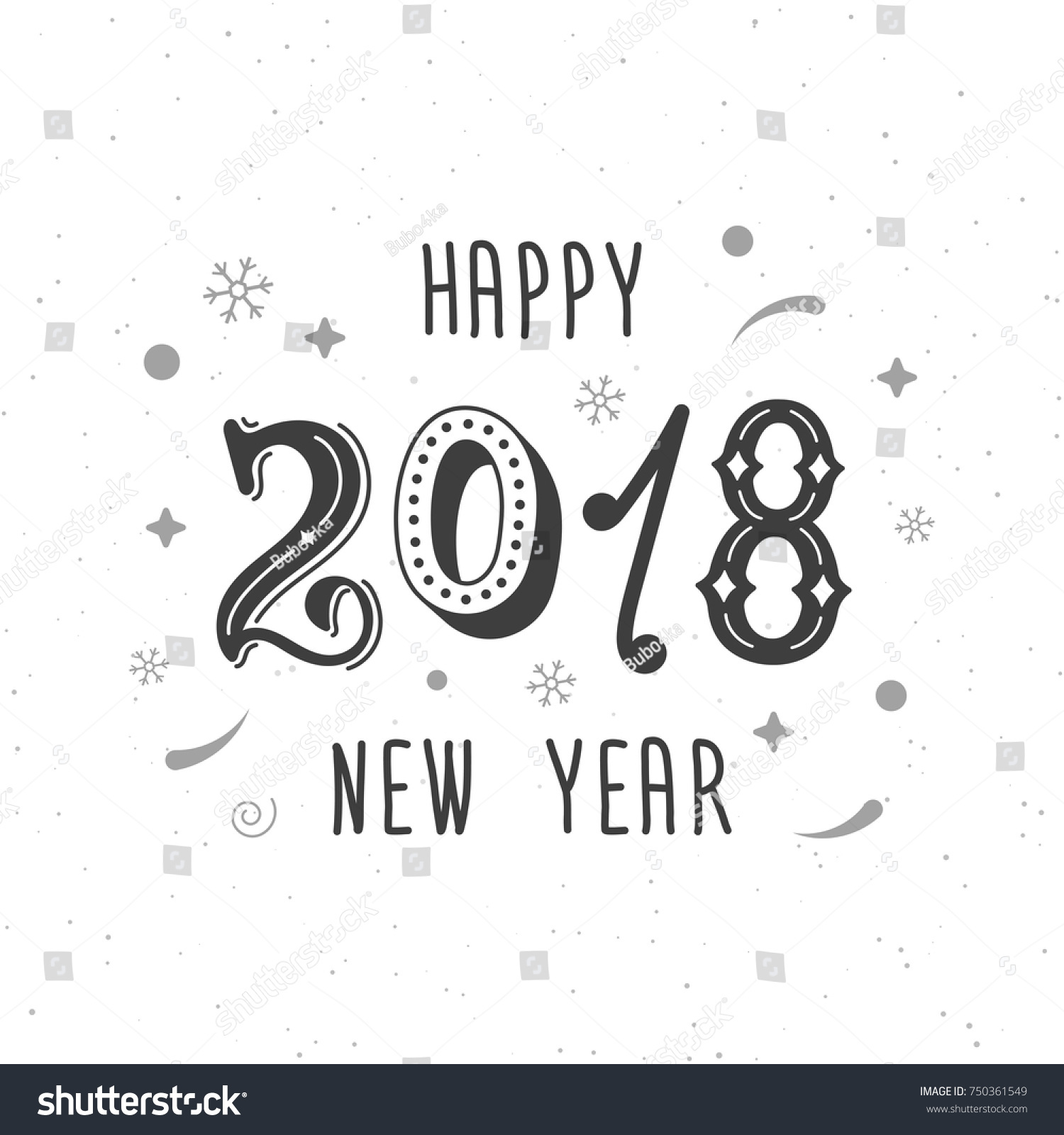 happy new year 2018 hand written modern brush lettering trendy hand lettering style art print for posters greeting cards design and t shirt vector ez
