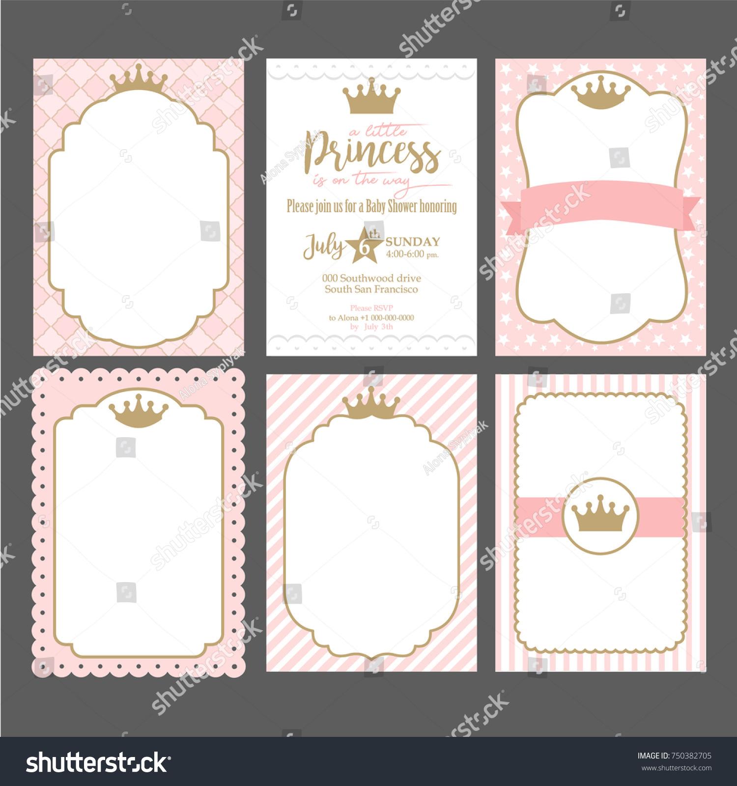 set cute pink templates invitations vintage のベクター画像素材