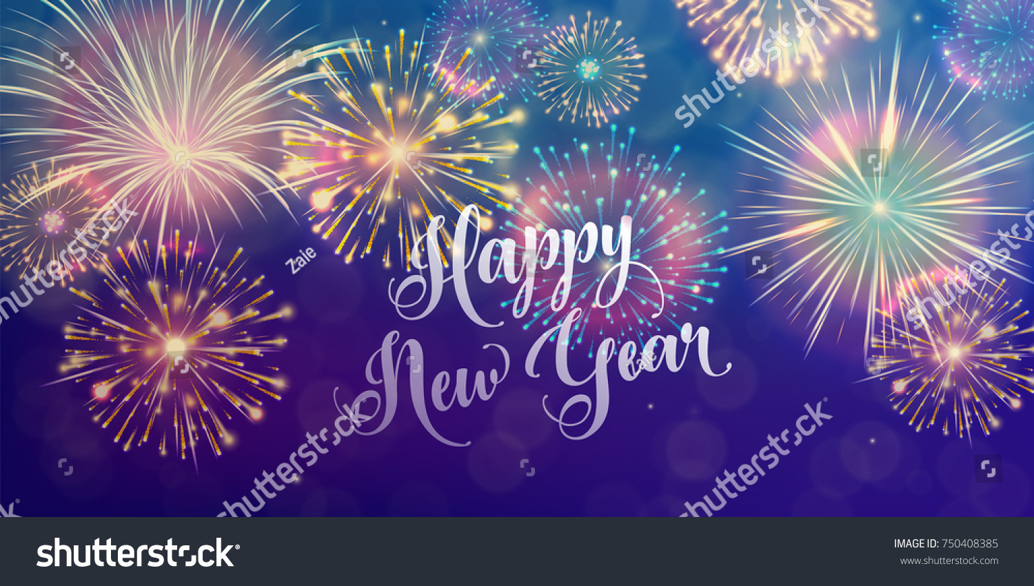 happy new year holiday banner background seasons greetings color fireworks design concept vector