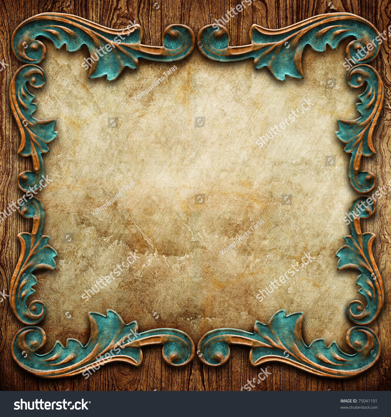 Vintage Classical Frame On Wooden Background Stock