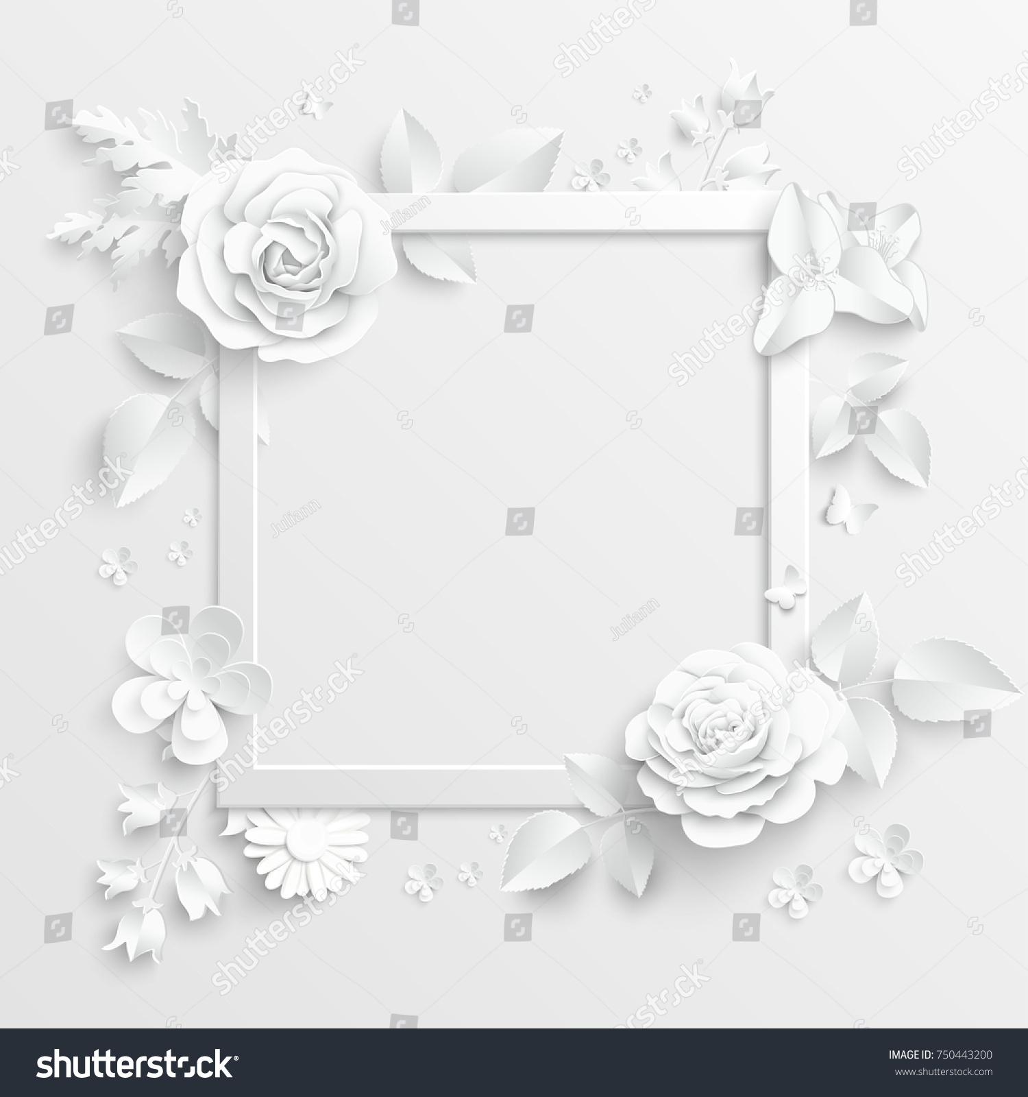 Paper Flower Frame White Rose White Stock Vector (Royalty Free ...