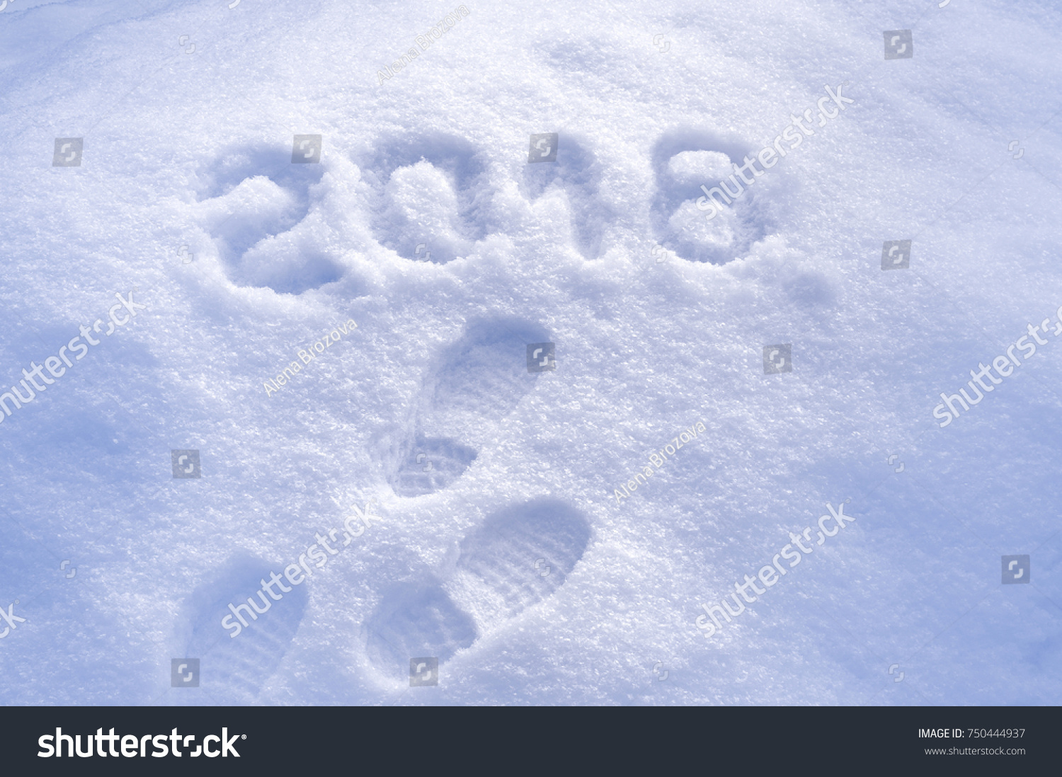 new year 2018 greeting footprints in snow new year 2018 greeting card