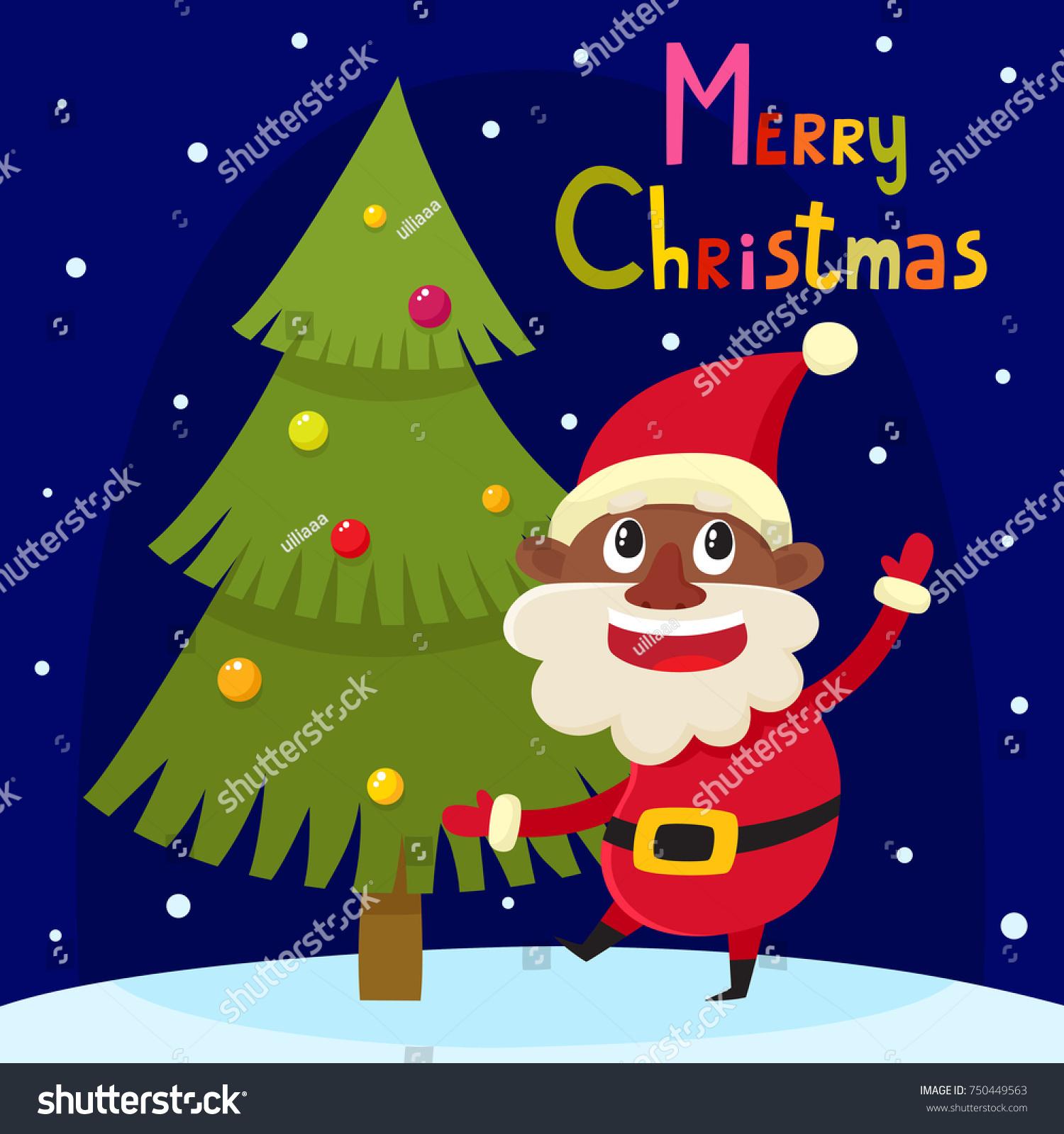 Christmas greeting card cartoon african santa stock vector 750449563 christmas greeting card with cartoon african santa claus cartoon vector characters symbol of new kristyandbryce Gallery