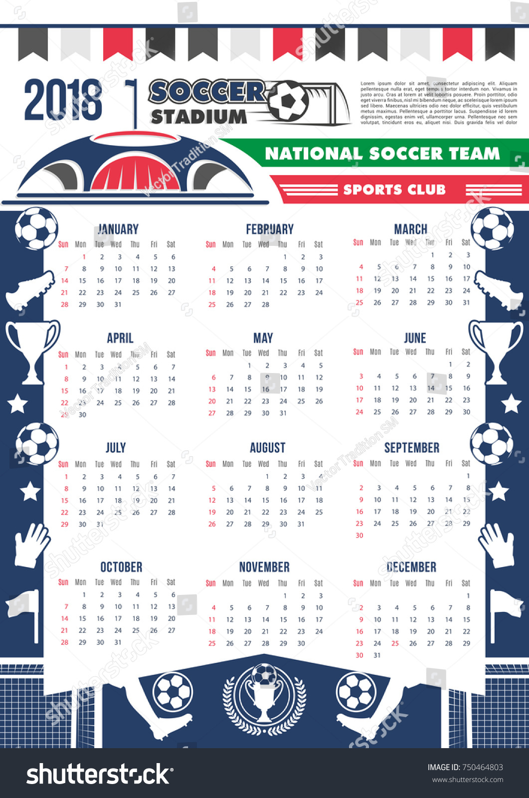 Soccer Cup Calendar 2018 Template Poster Stock Vector Royalty Free