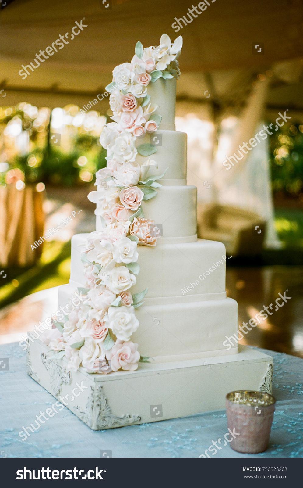 Elegant White Wedding Cake With Pink Flowers Ez Canvas
