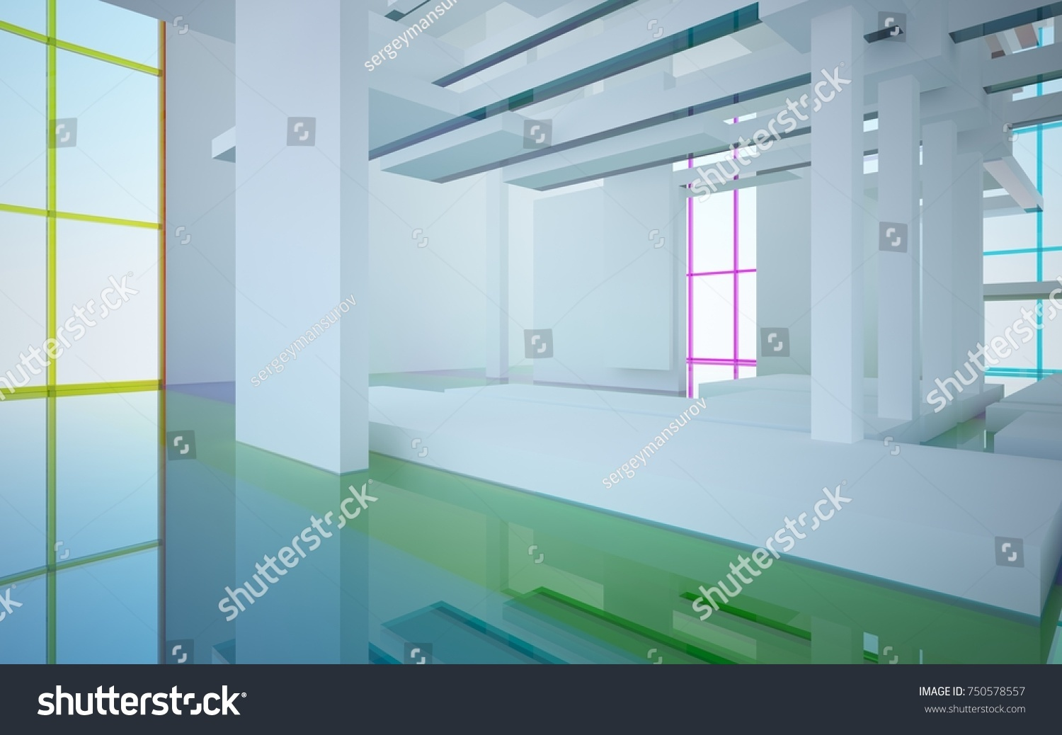 Abstract White Colored Gradient Glasses Interior Stock Illustration ...