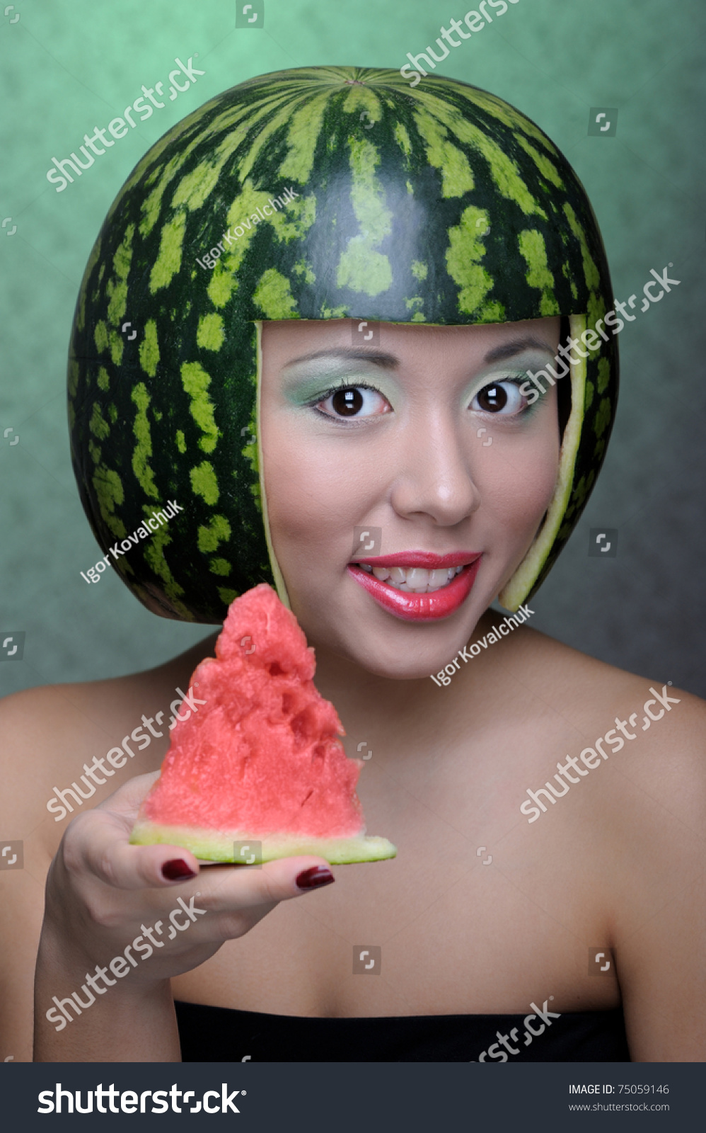Portrait Of Woman With Melon Galia Stock Photo, Picture And ...