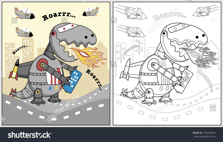 stock vector dino robot city vector cartoon illustration coloring book or page