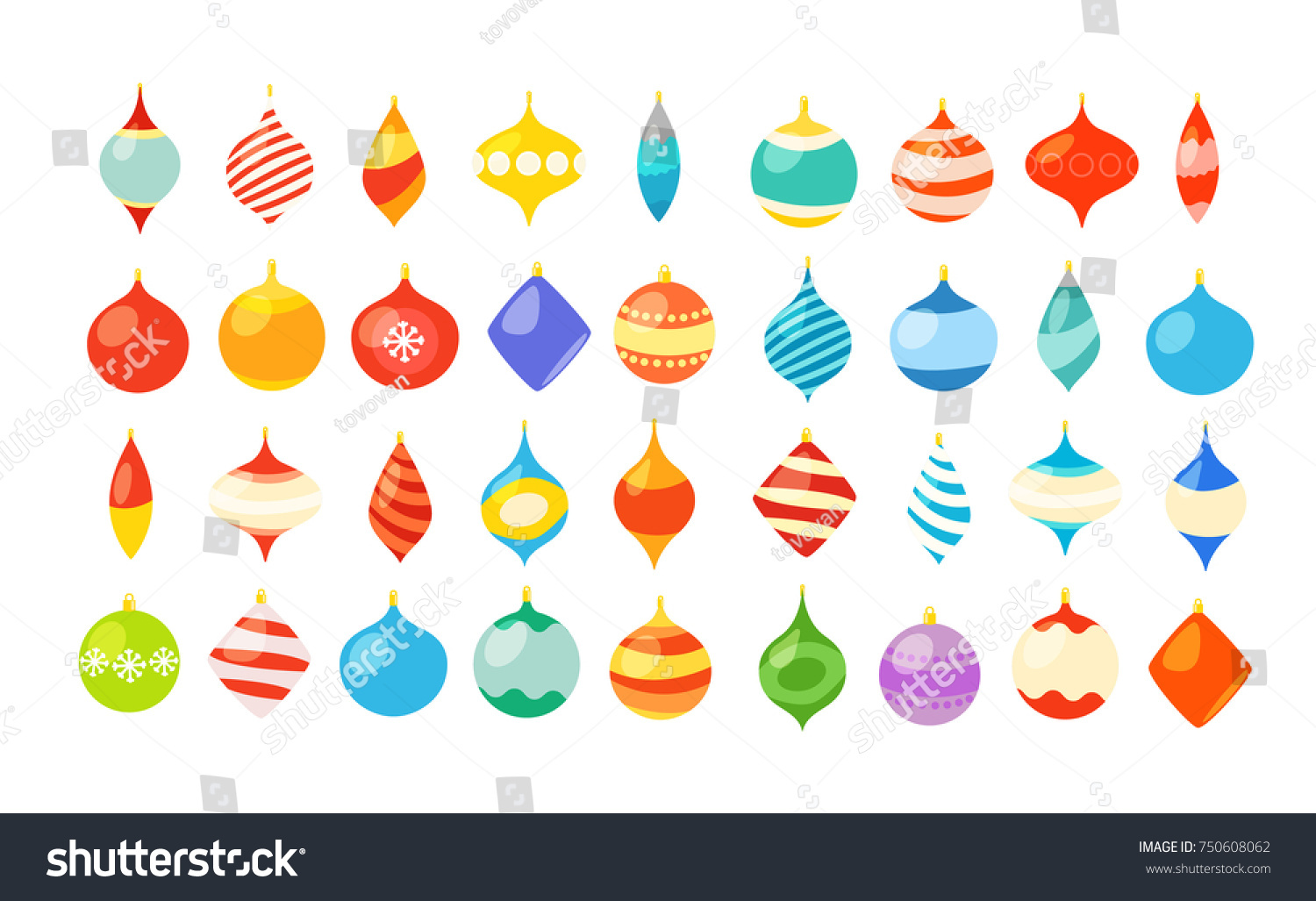 Different Christmas Bauble Clipart Isolated On Stock Vector Royalty