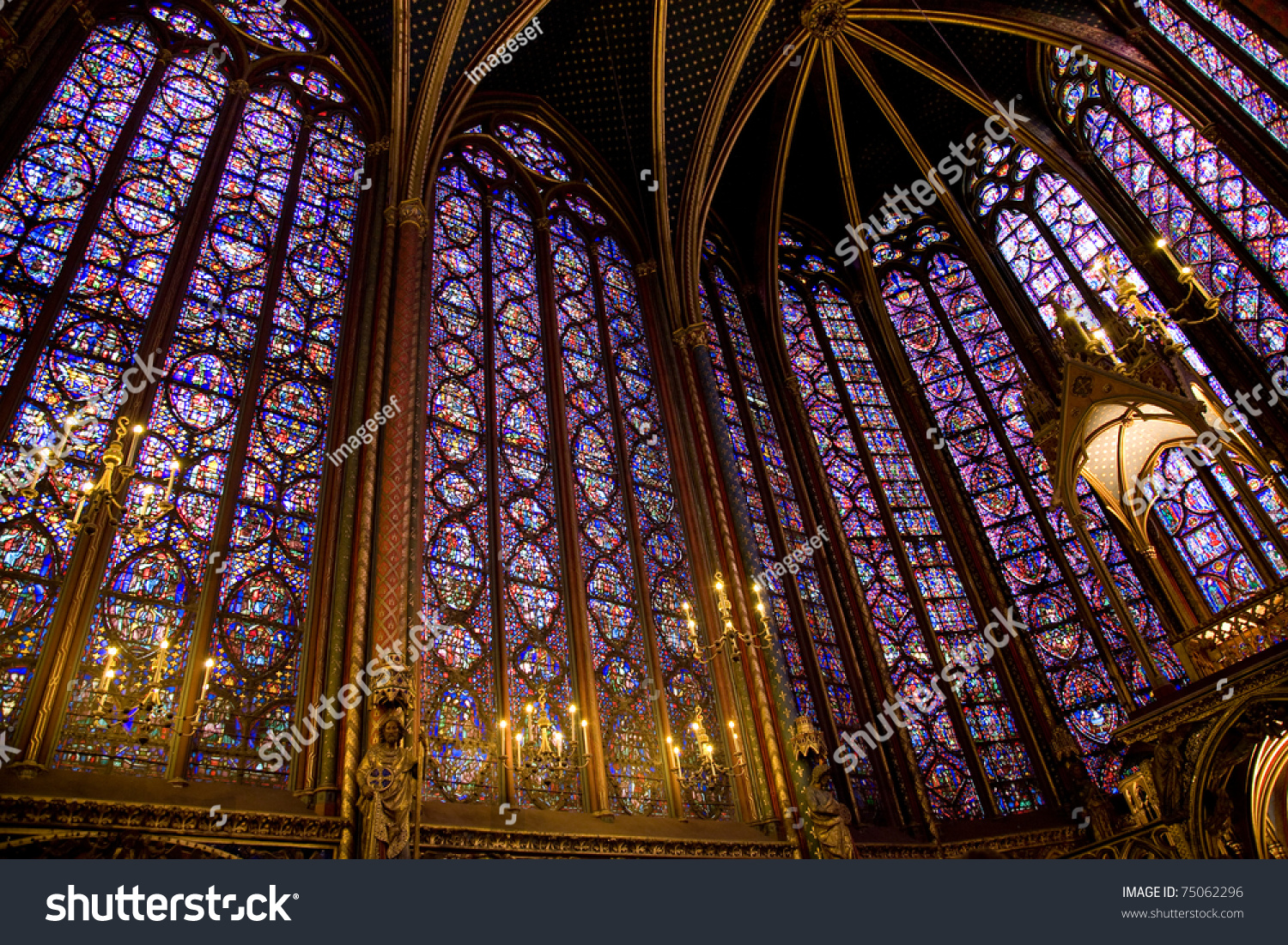 Interior Sainte Chapelle Beautiful Stained Glass Stock Photo Royalty Free 75062296