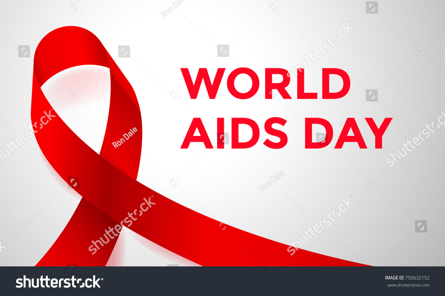 World Aids Day Red Ribbon 1 Stock Vector Royalty Free 750632152