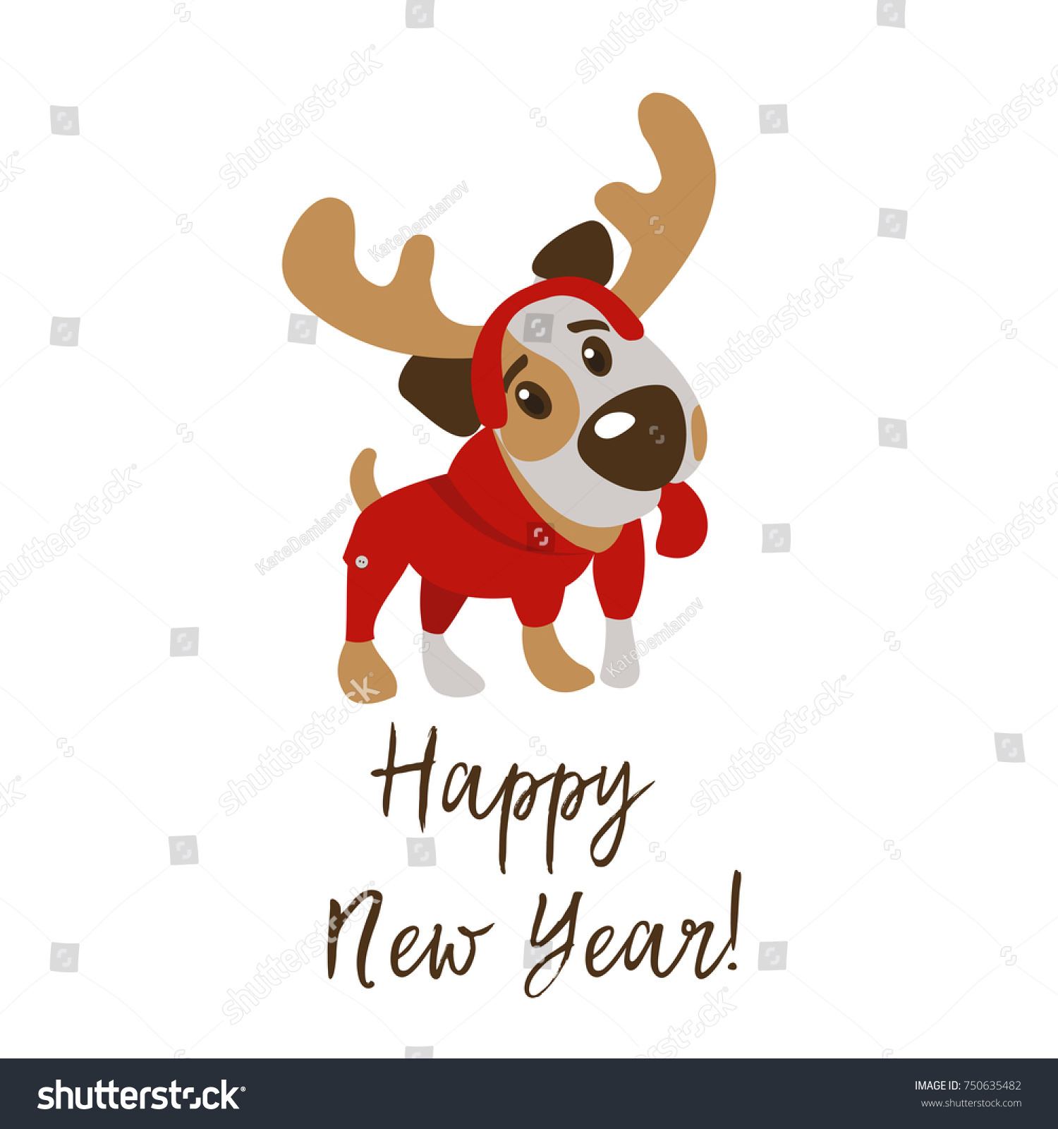 Happy New Year Merry Christmas Greeting Stock Vector (Royalty Free ...