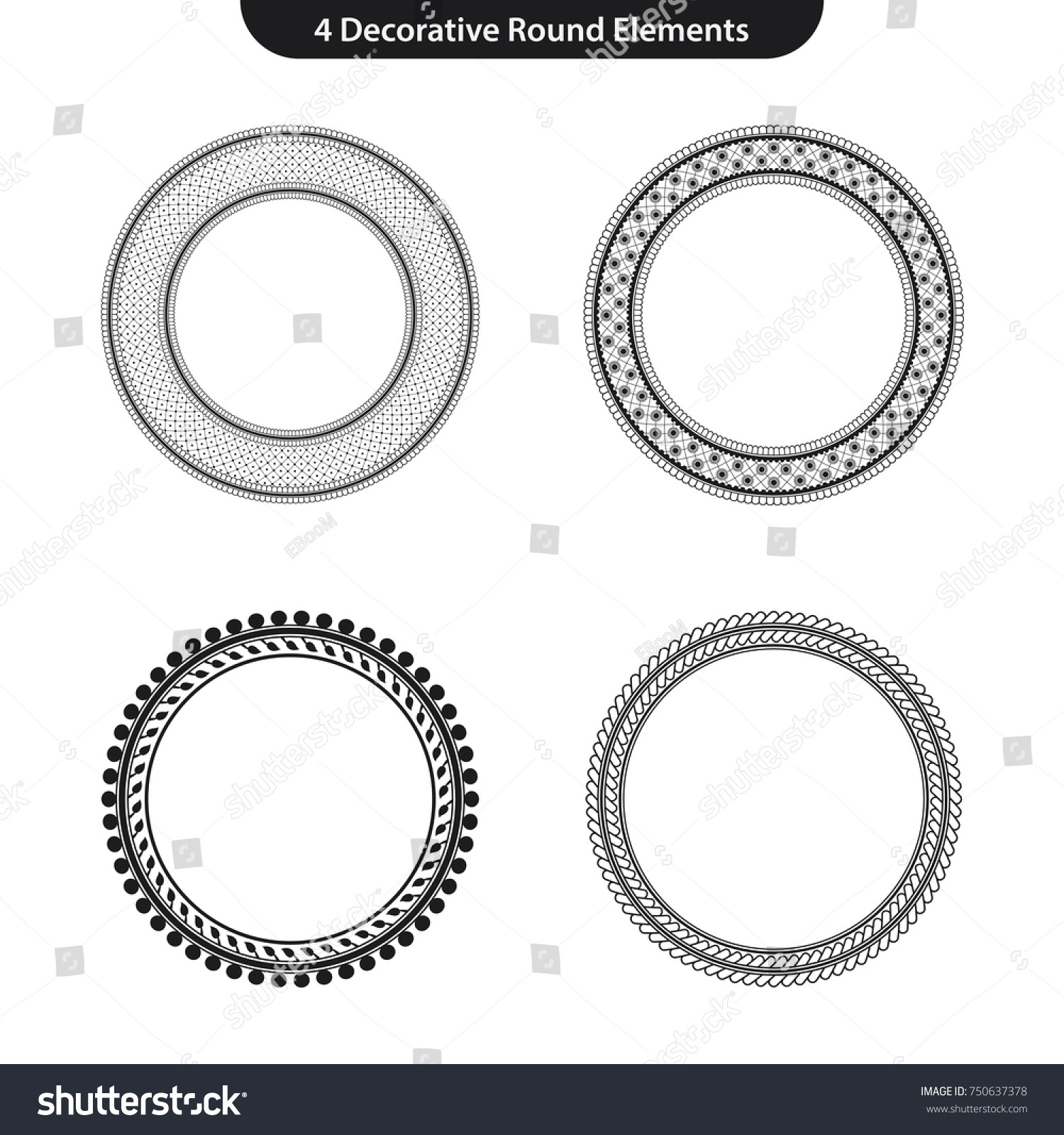 4 decorative round vector elements circle stock vector royalty free