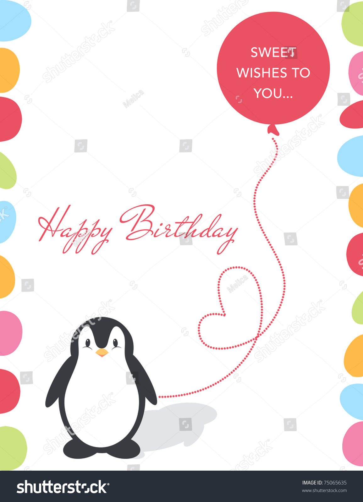 illustration of a birthday card with a cute penguin and balloon, Birthday card