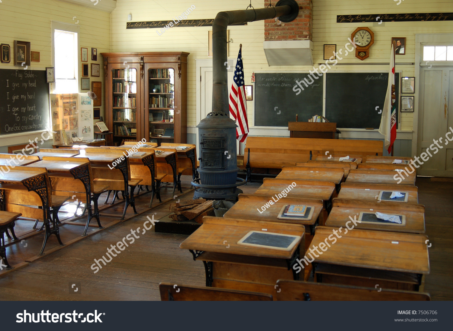 Interior school house 1800s old town stock photo 7506706 for Interior of school