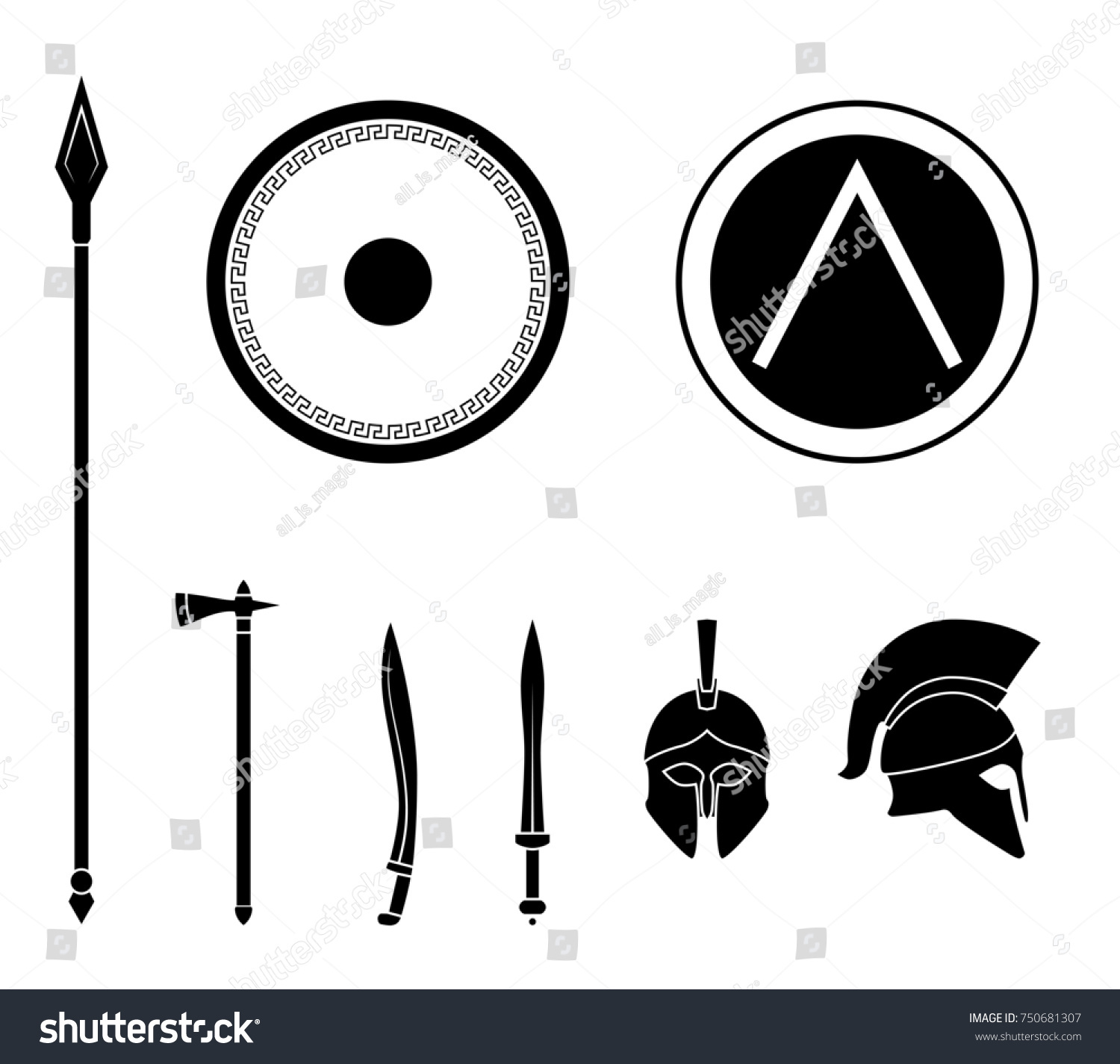 Set ancient greek spartan weapon protective stock illustration set of ancient greek spartan weapon and protective equipment spear sword gladius biocorpaavc