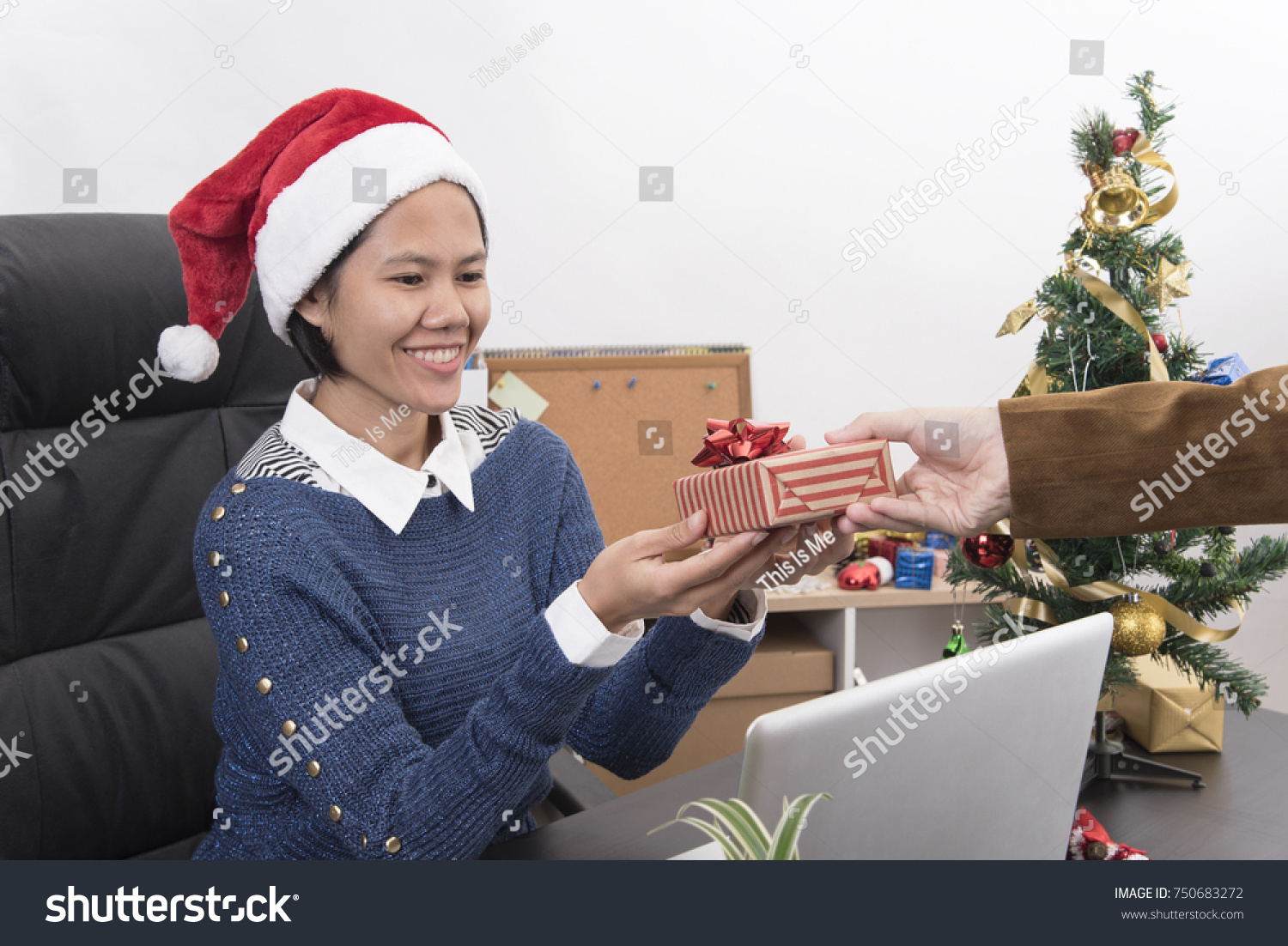 Young Businesswomen Giving Gift Box Colleague Stock Photo (Edit Now ...