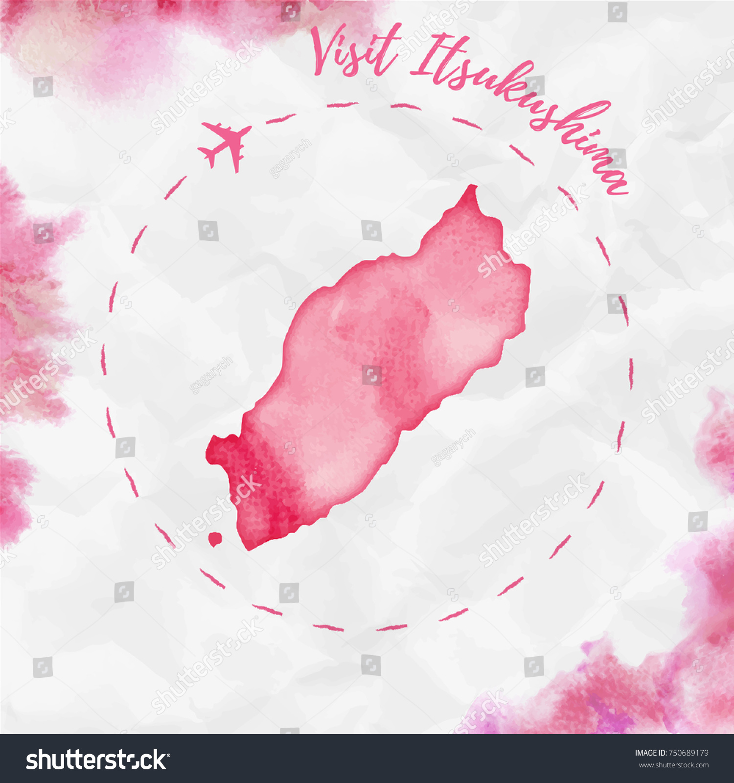 Itsukushima Watercolor Island Map Red Colors Stock Vector 750689179