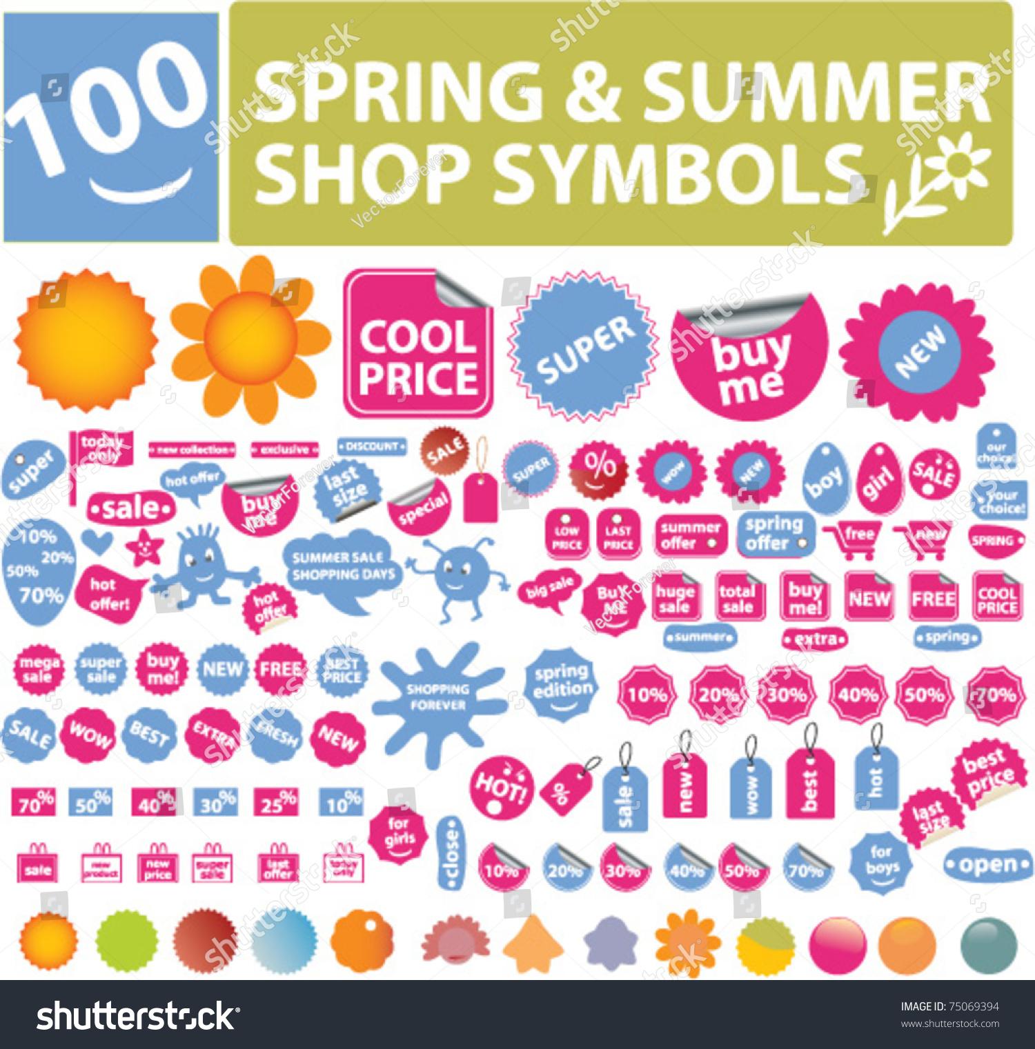 100 Spring Summer Shop Symbols Elements Stock Vector Royalty Free