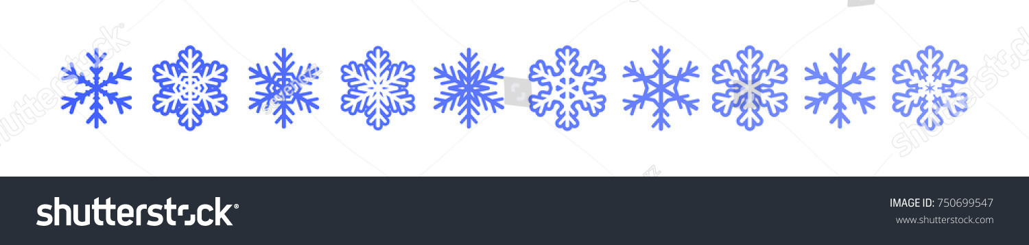 Sset Winter Snowflakes Banner Blue Snow Stock Vector Royalty Free
