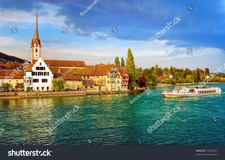 Swiss Town On River Rhine Stock Photo Shutterstock - Swiss river to the rhine