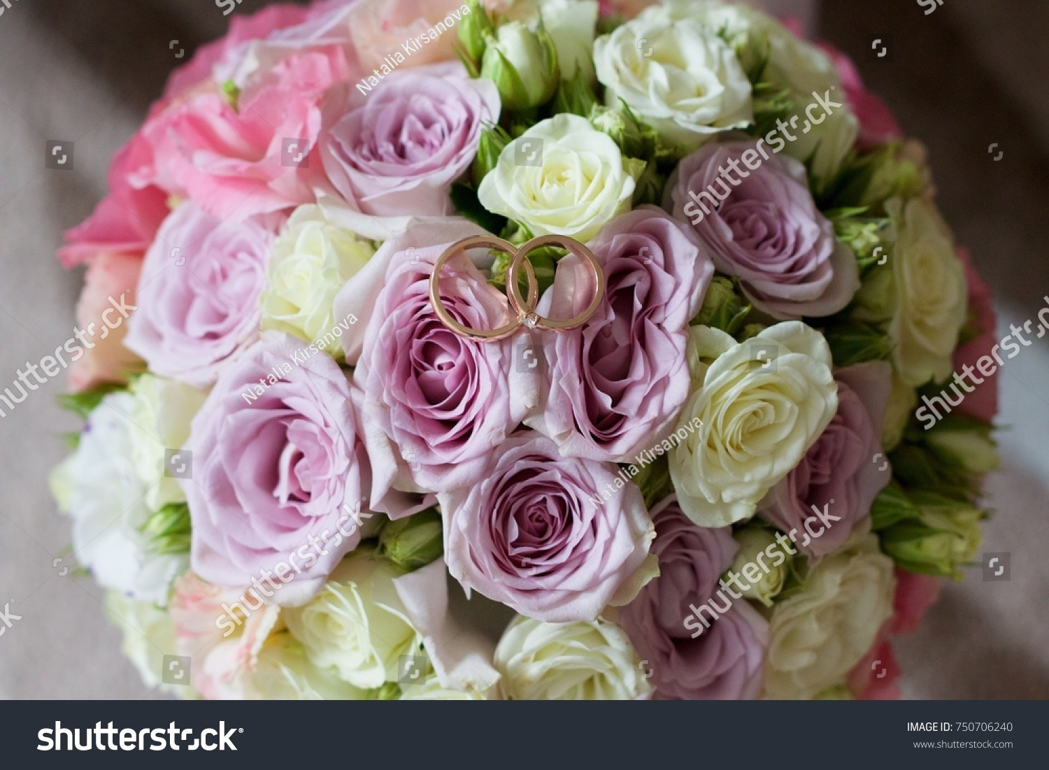 Engagement Rings Wedding Bouquet Flowers Stock Photo (Royalty Free ...