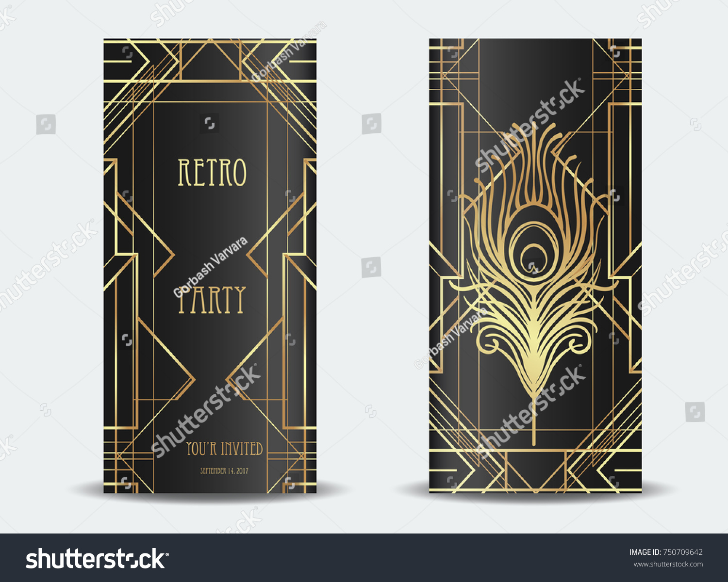Art Deco Vintage Invitation Template Design Vector de stock (libre ...
