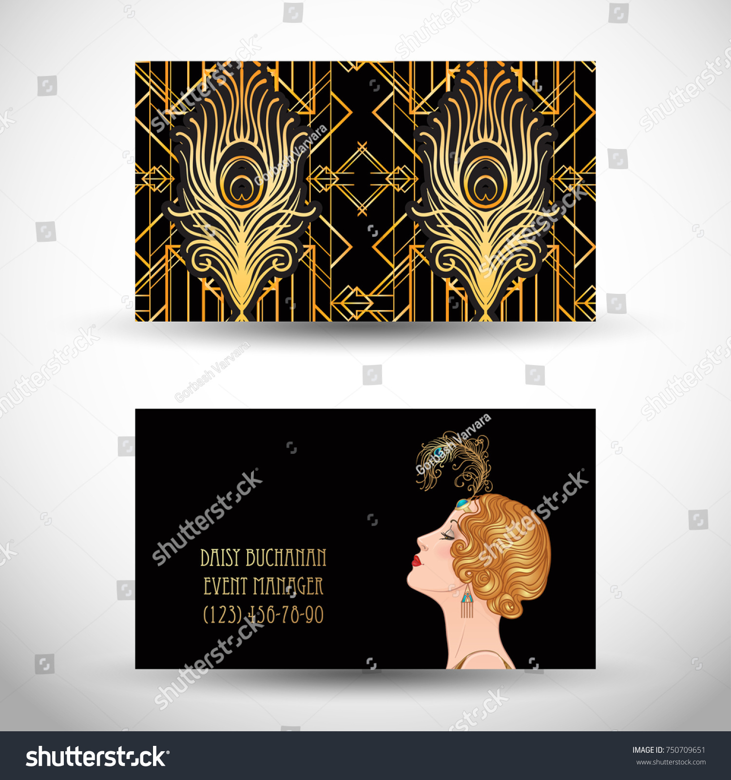 Art deco style business card sample stock vector royalty free art deco style business card sample text abstract vintage patterns and flapper girl colourmoves