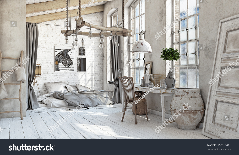 Scandinavian Style Interior Bedroom Attic 3d Stock