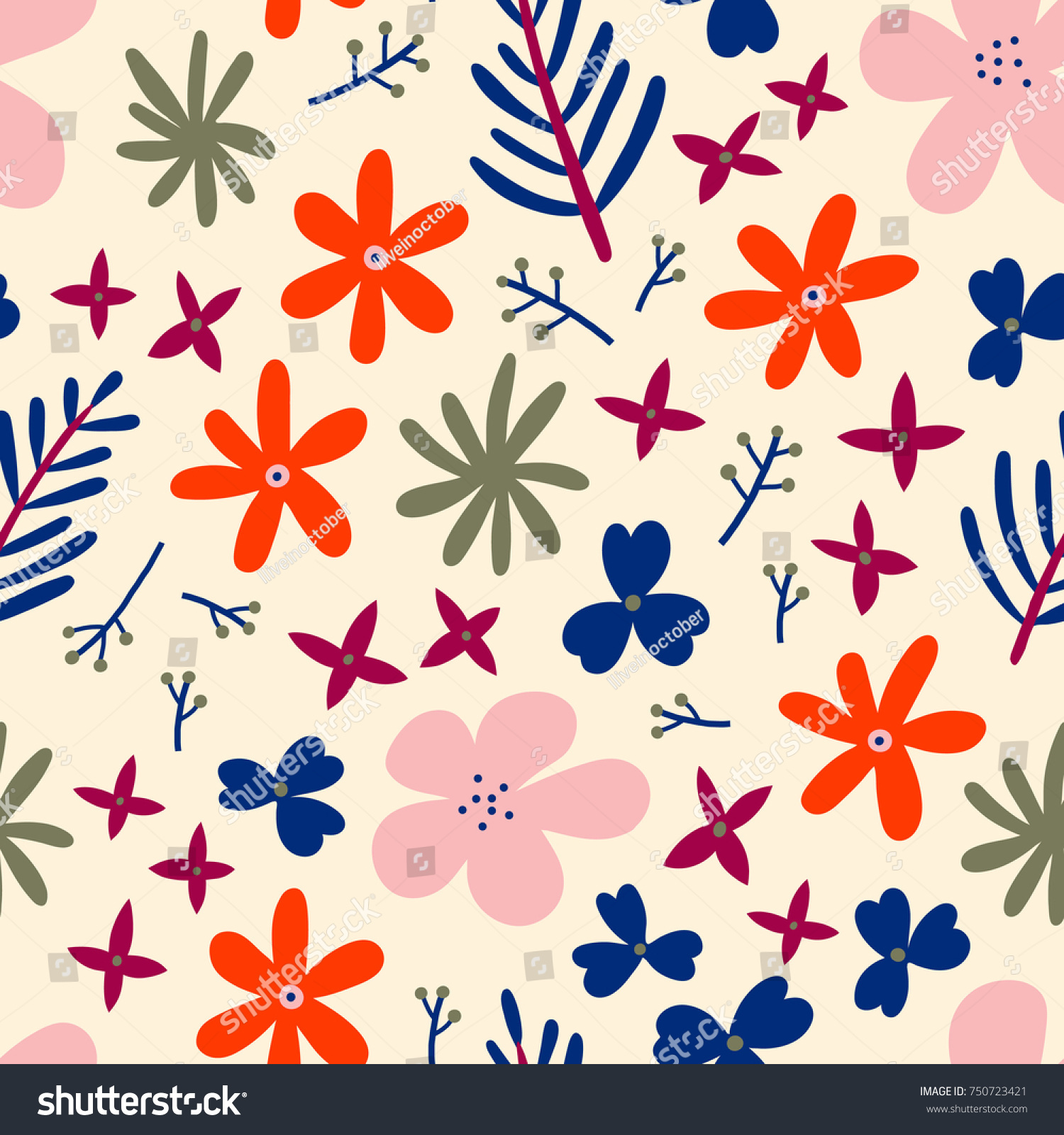 Simple Floral Background Abstract Seamless Pattern Stock Vector