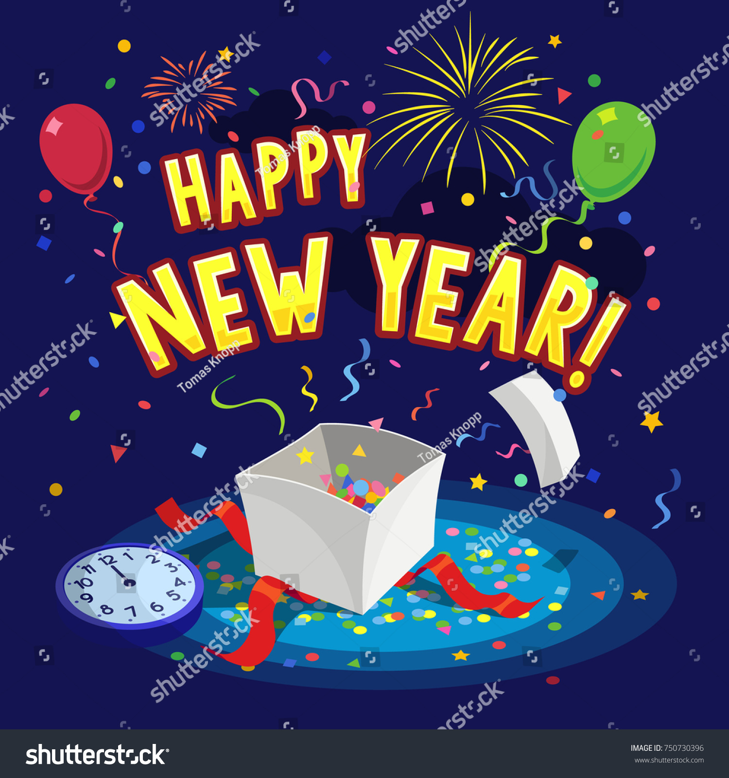 Template happy new year greeting card stock vector 750730396 template of happy new year greeting card with balloons fireworks gift box and confetti kristyandbryce Images