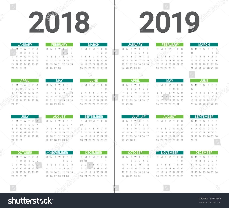 Year 2018 2019 Calendar Vector Design Stock Vector Royalty Free
