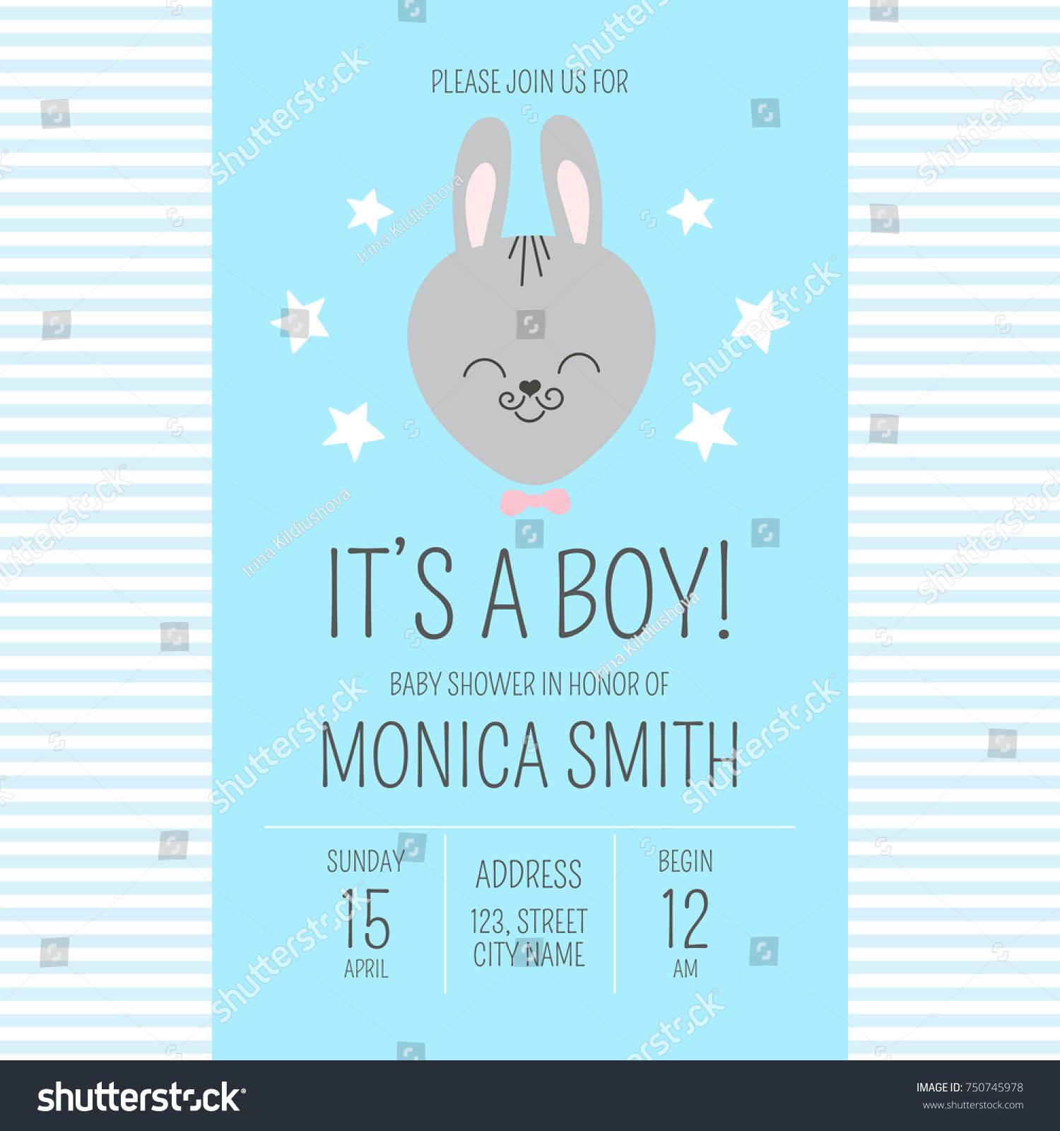 Cute Baby Shower Boy Invite Card Stock Vector 750745978 - Shutterstock