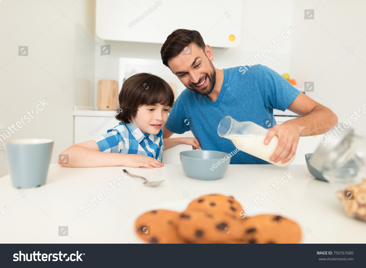 Father Son Have Breakfast Light Kitchen Stock Photo (Edit Now ...