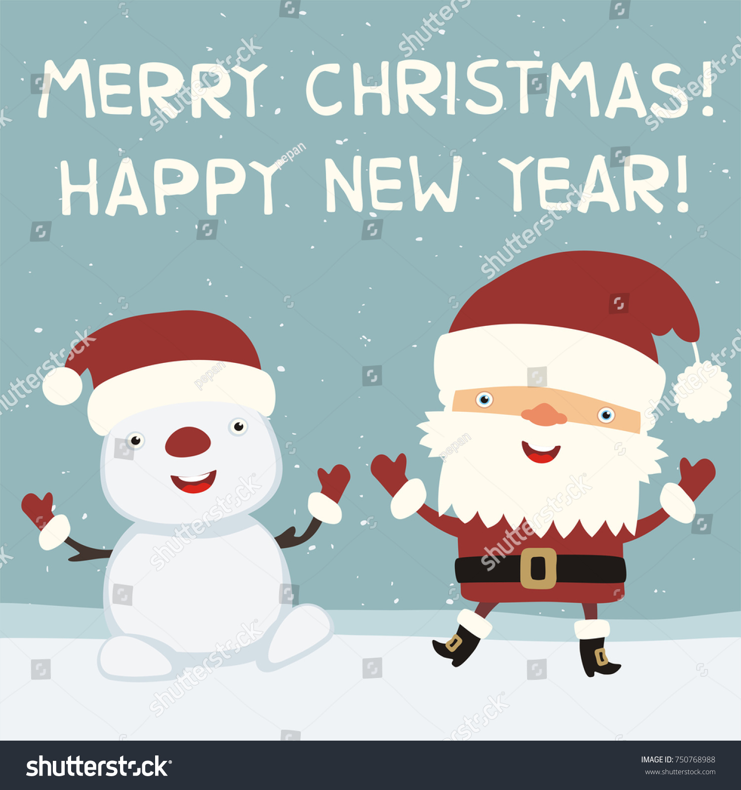 Merry Christmas And Happy New Year! Funny Santa Claus Dancing With Snowman.  Greeting Card