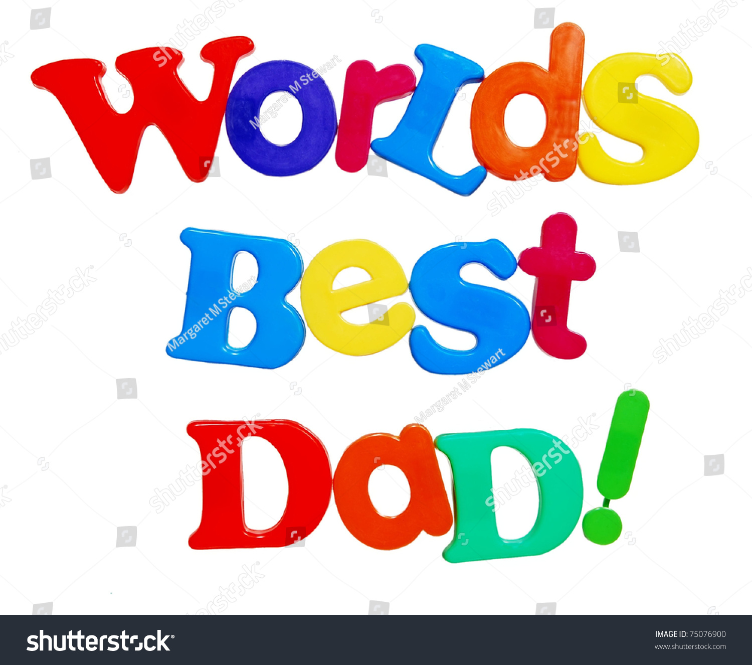 worlds best dad written in a colorful mix of plastic letters isolated on white