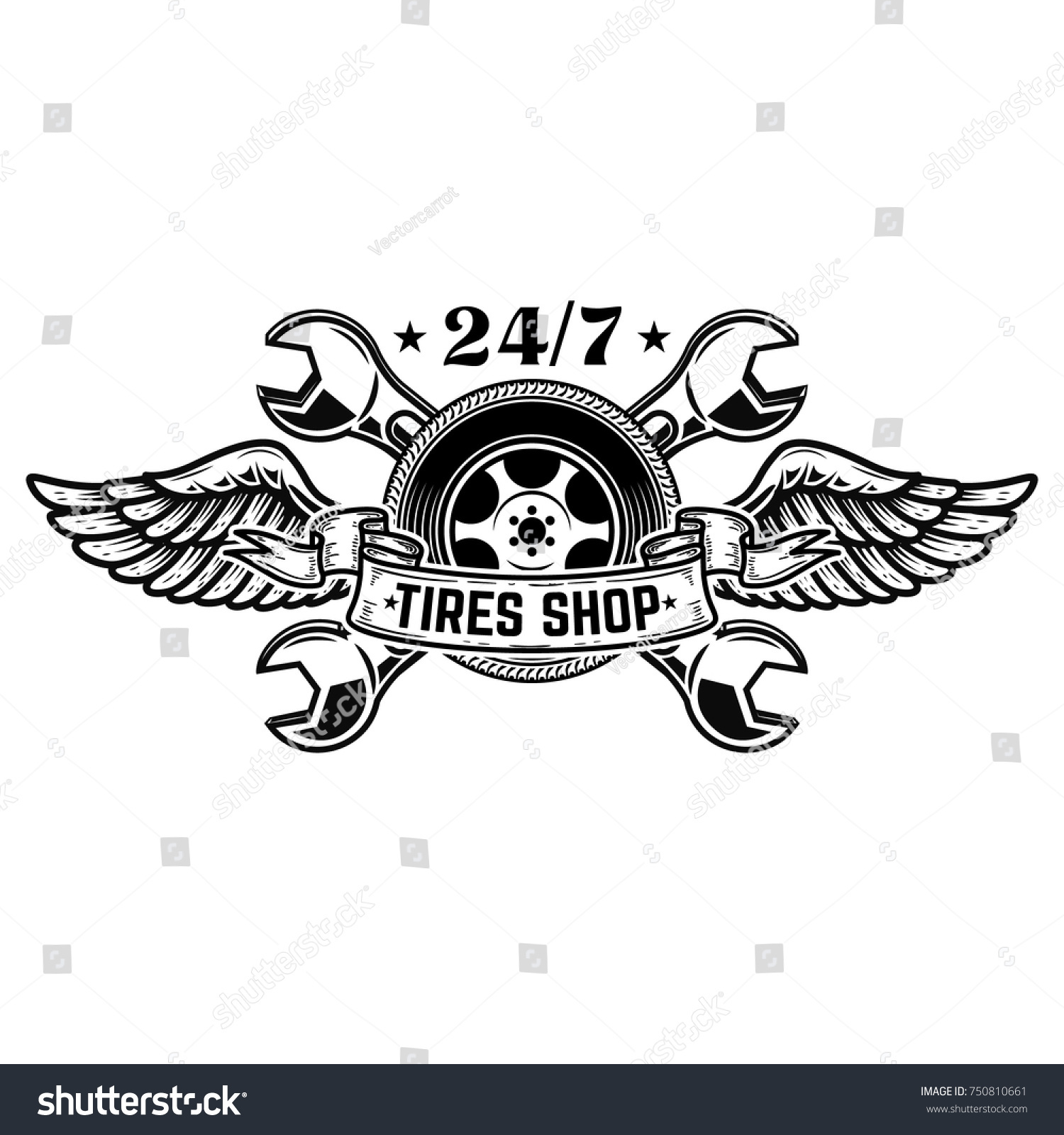 Tire Shop Emblem Template Car Wheel Stock Vector - Car sign with wings
