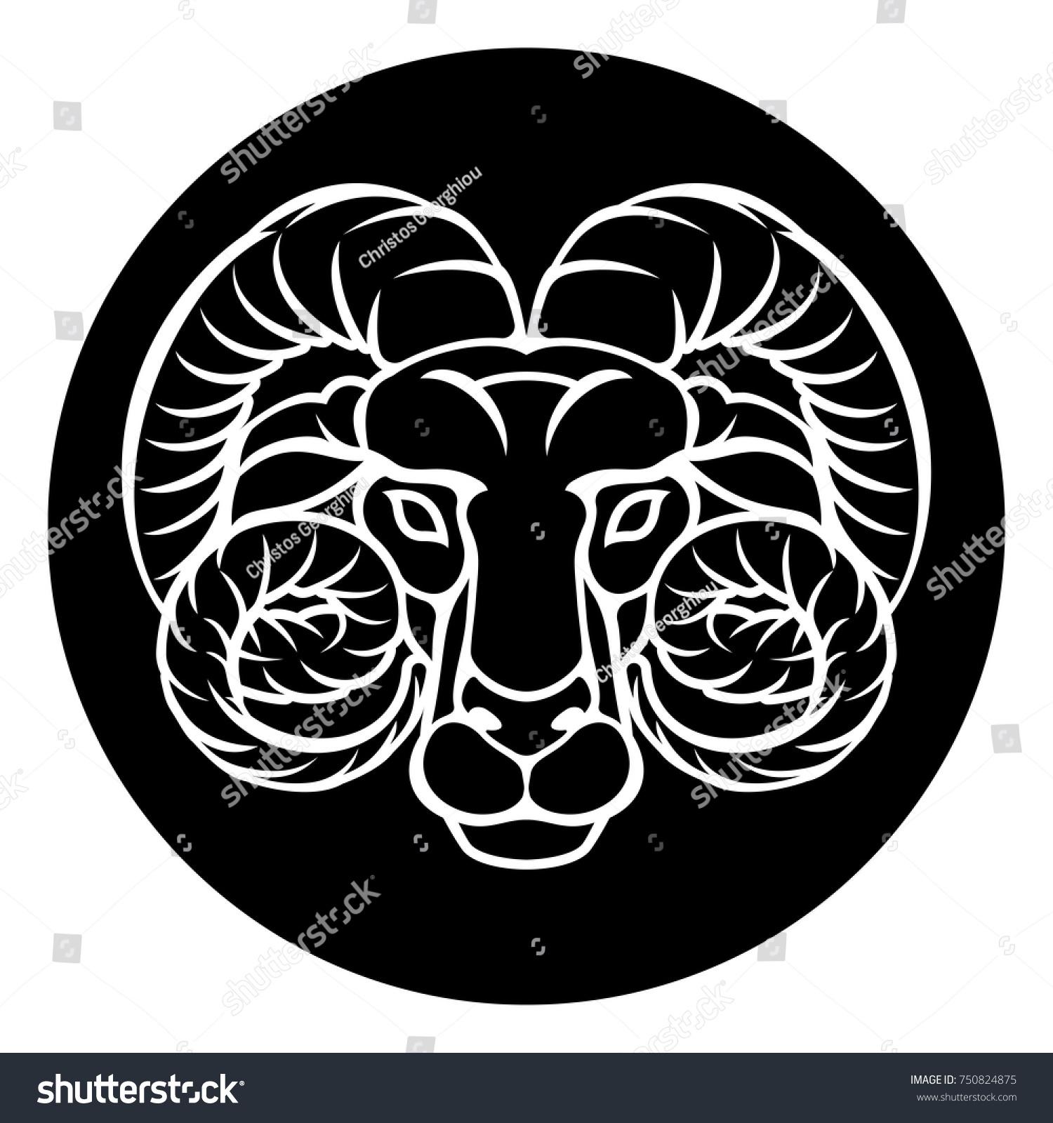 Aries Ram Horoscope Astrology Zodiac Sign Stock Vector Royalty Free