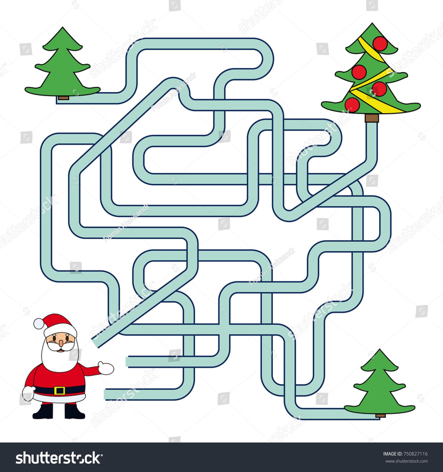 Funny Christmas Maze Game Santa Claus Stock Vector (Royalty Free ...