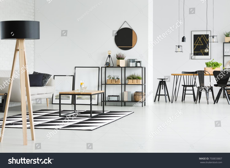 Black White Living Room Scandinavian Style Stock Photo 750833887 ...